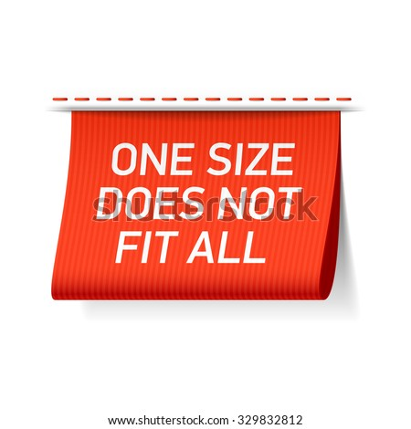 One size does not fit all label. Vector. - stock vector