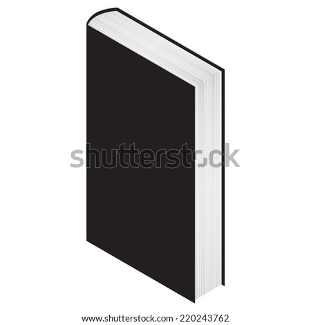 one standing book on white with empty cover for your text