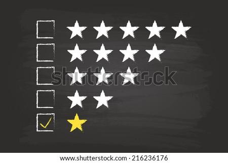 One Star Checklist Rating On Blackboard - stock vector