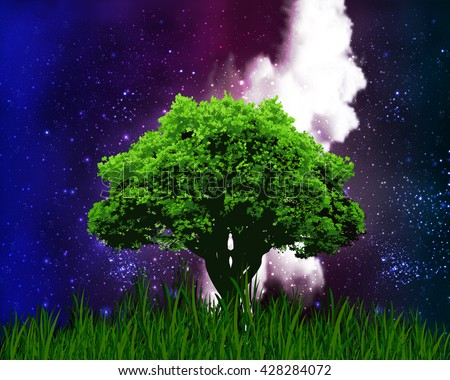One tree on a background of the starry night sky - stock vector