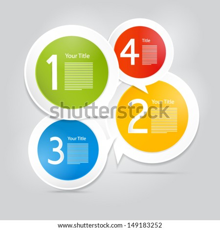 One, two, three, four, colorful vector paper progress steps for tutorial - infographics  - stock vector