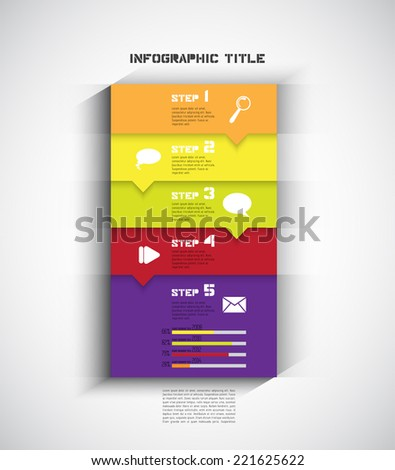 One two three four five - progress steps for tutorial, vector - stock vector