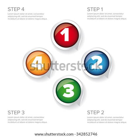 One two three four - progress steps vector button - stock vector