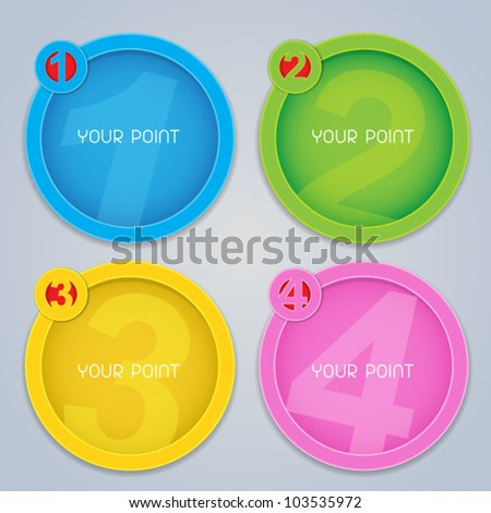 One, Two, Three, Four progressive circular labels in colors - stock vector