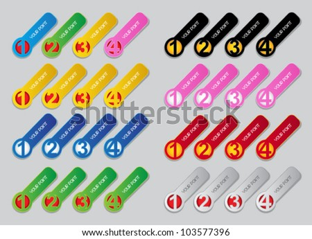 One, Two, Three, Four progressive labels in colors - stock vector