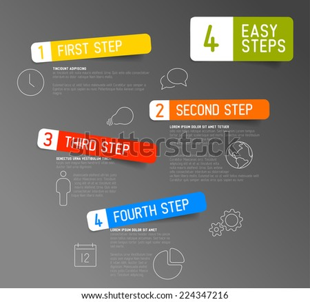 One two three four - vector paper progress steps for tutorial template - stock vector
