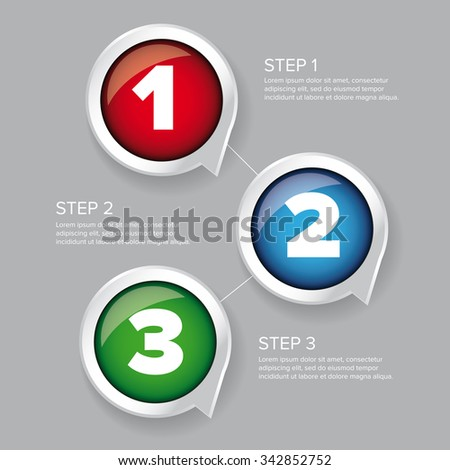 One two three - progress steps vector button - stock vector