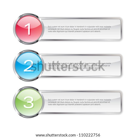 One two three steps vector light glossy banners - stock vector