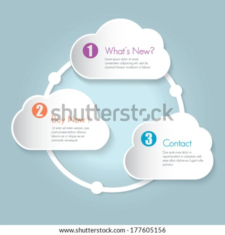 One  two three vector cloud options on bright background
