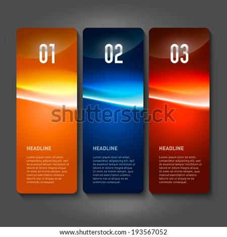 One two three - vector paper progress glossy steps. - stock vector