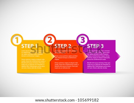 One two three - vector paper progress steps for tutorial - stock vector