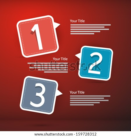 One, two, three, vector paper progress steps for tutorial on red background, infographics  - stock vector