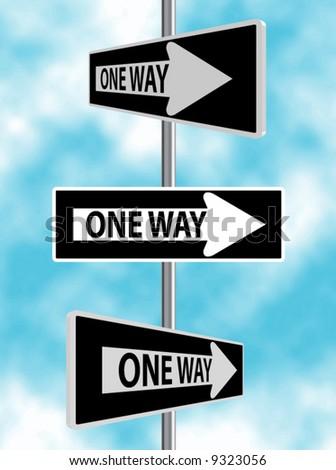 One Way Road Sign Vectors - stock vector