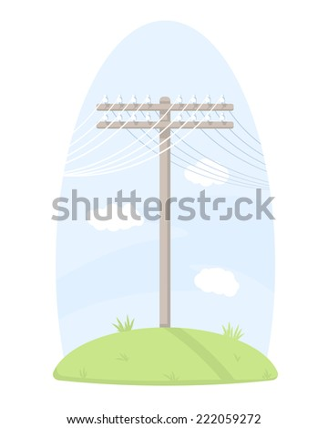 One wooden telegraph pole with wires, standing on grass, isolated - stock vector
