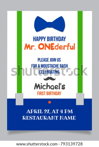One year boy birthday invitation card stock vector 2018 793139728 one year boy birthday invitation card for moustache party stopboris Image collections