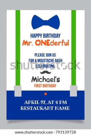 One year boy birthday invitation card stock vector 793139728 one year boy birthday invitation card for moustache party stopboris Gallery