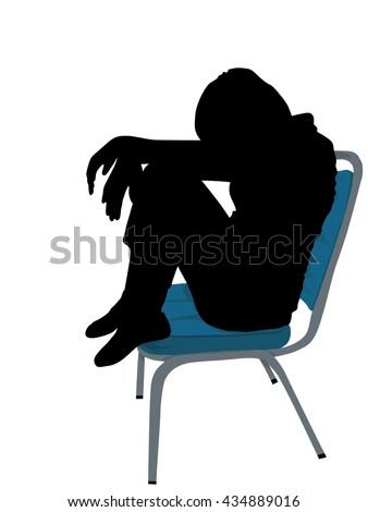 one young woman tired sad despair silhouette Full length in studio isolated on white background, Vector silhouette of girl sitting on blue chair with symbolizing sadness and depression,  - stock vector