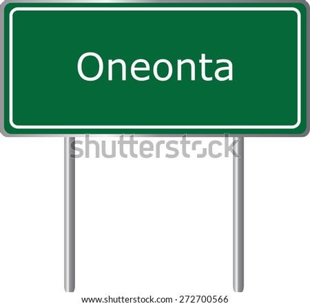 Oneonta, Alabama, road sign green vector illustration, road table, USA city - stock vector