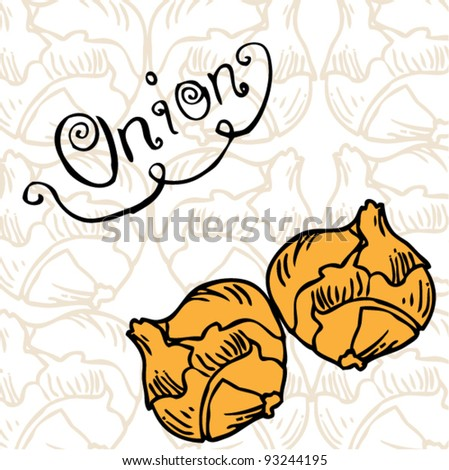 onion on pattern background
