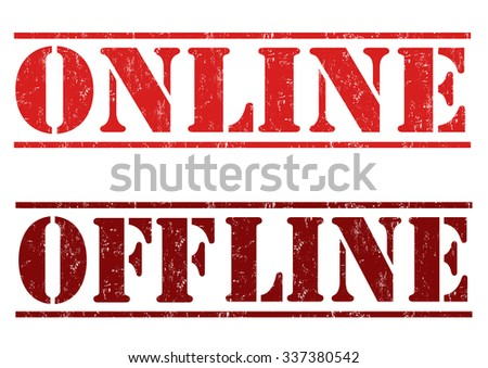 Online and offline grunge rubber stamps on white background, vector illustration