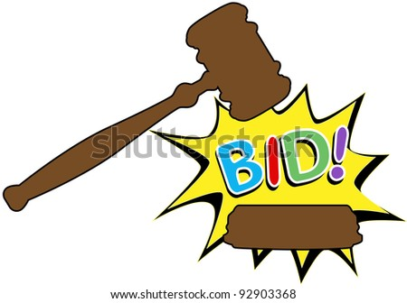 Online auction bid gavel hits stand to end sale in cartoon style icon - stock vector