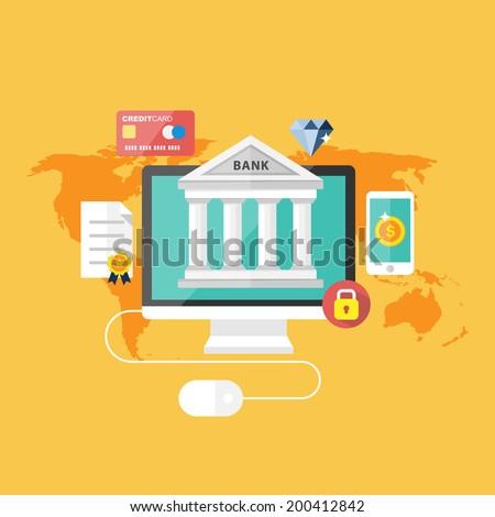 Online bank concept. - stock vector