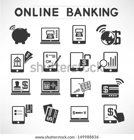 online banking icons set, financial icons set - stock vector