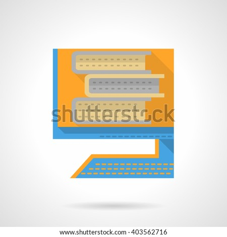 Online book archives or library. Computer monitor with books imaging. Educational database.  Flat color style vector icon. Web design element for site, mobile and business. - stock vector