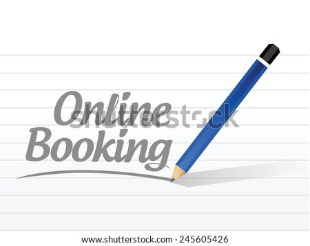online booking message sign illustration design over a white background - stock vector