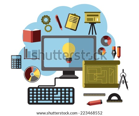 Online business ideas, inspiration and research flat concept with computer surrounded by icons depicting analysis, accounting, maths, presentation, gear, DVD, paperwork and books for brainstorm - stock vector