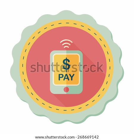 online cell phone shopping flat icon with long shadow,eps10 - stock vector