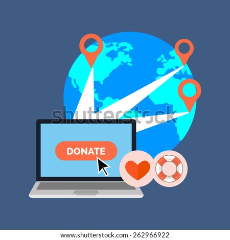 Online charity, donate concept. Flat design stylish. Isolated on color background - stock vector