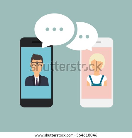 Online chat man and woman. Couple chat on a cell phone. Cartoon man and woman. Flat vector design. - stock vector