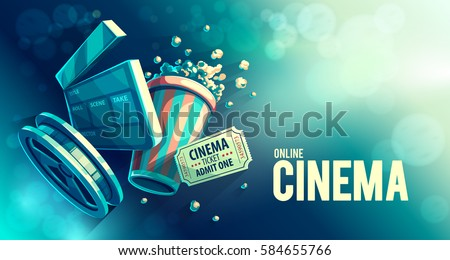 Online cinema art movie watching with popcorn and film-strip cinematograph concept vintage retro movies colors vector illustration. Hipster and cinematic style colors