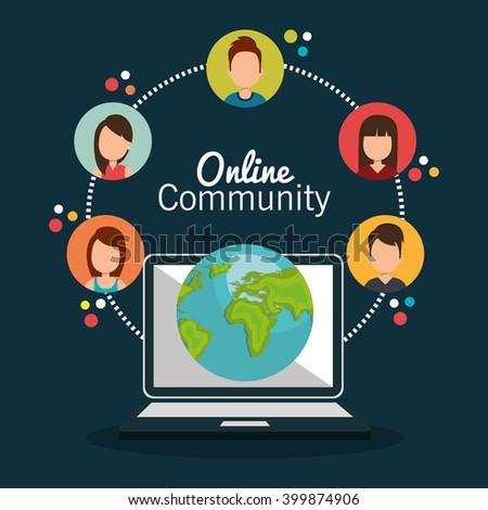 online community design  - stock vector