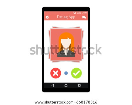 Online Dating app concept on mobile phone Flat Vector