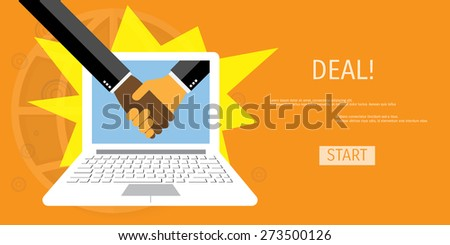 Online deal. Handshake of two business people. Concepts for web banners and promotional materials. - stock vector