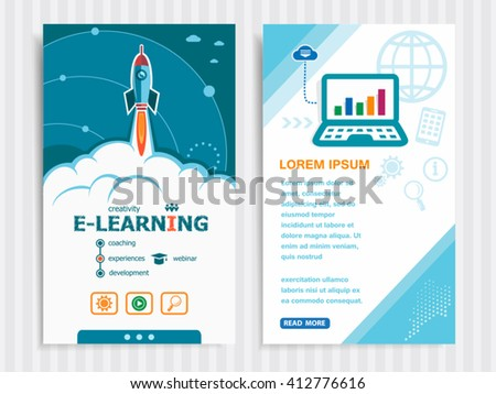 Online e-learning and concept background with rocket. Project Online e-learning concepts and Set of Banners. Vector Illustration. Eps10 Format.