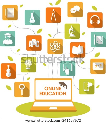 Online e-learning and science concept with computer and education icons in flat style - stock vector