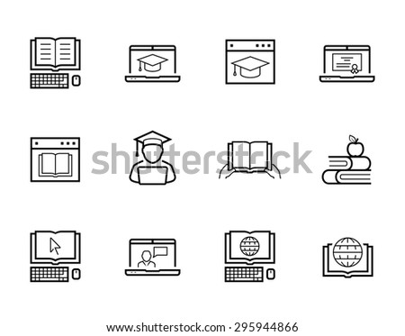 Online education and web-based training icon set - stock vector