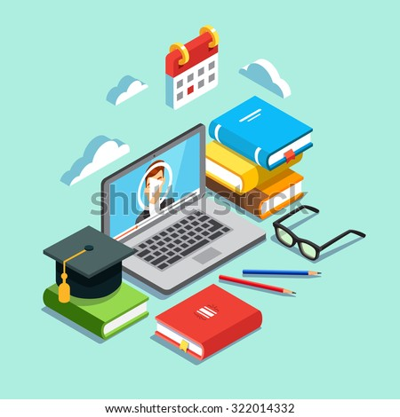 Online education concept. Laptop with opened text document next to stacked books, mortar board student cap, pencils and glasses. Flat style vector illustration isolated on cyan background. - stock vector