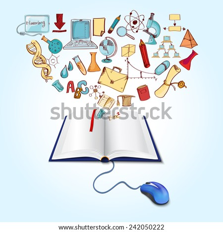 Online education concept with book computer mouse and sketch science icons set vector illustration - stock vector