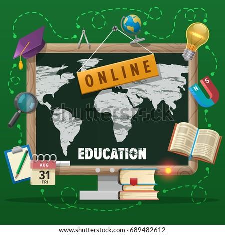 Online education concept world map general stock vector hd royalty online education concept with world map general education course flat vector design banner gumiabroncs Images