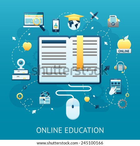 Online education design concept with book and computer mouse vector illustration - stock vector