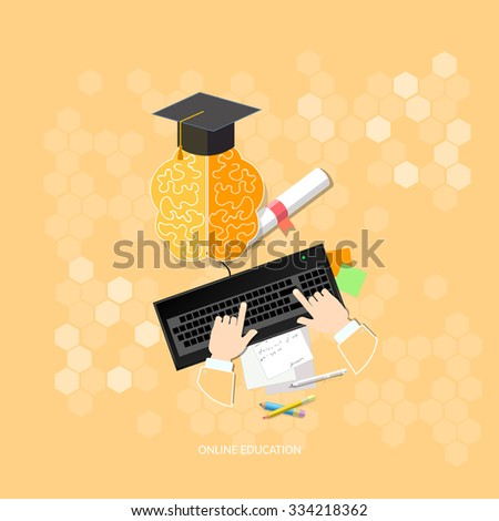 Online education diploma people studying online with computers vector illustration concept  - stock vector