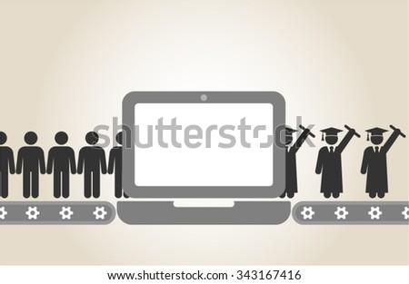 Online Education E-learning - stock vector