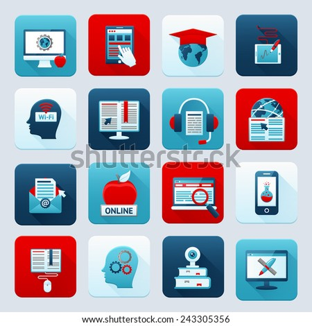 Online education e-learning distance knowledge digital training icons set isolated vector illustration - stock vector
