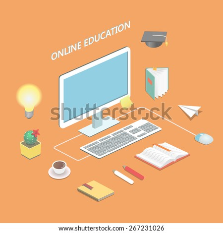 Online education e-learning science Isometric concept with book and computer  vector illustration - stock vector