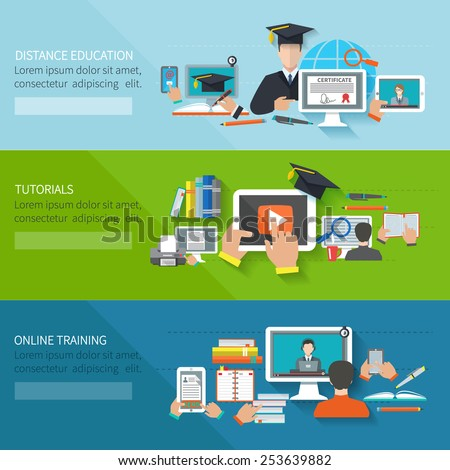 Online education flat horizontal banner set with distance tutorials and training elements isolated vector illustration - stock vector