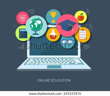 Online education flat illustration. Eps10 - stock vector